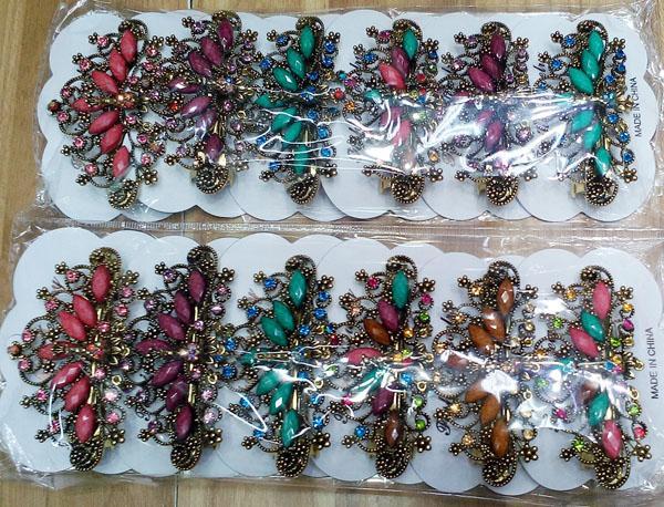 women antique crystal stone flower metal barrette 6
