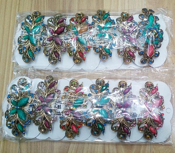women antique crystal stone flower metal barrette 7