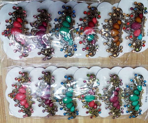 women antique crystal stone flower metal barrette 8