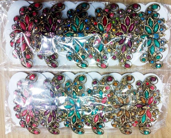 women antique crystal stone metal barrettes wholesale 3