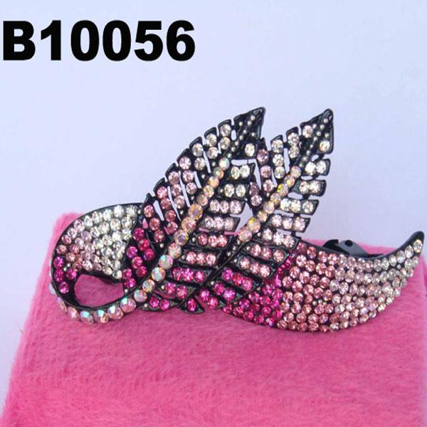 women antique long crystal stone leaf french barrette clip 6