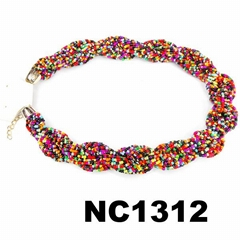 custom women costume braided colorful seed bead necklace