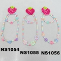 fashion kids plastic beads flower charm bracelet necklace set wholesale