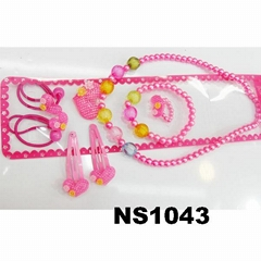 cute baby kids plastic pearl beads heart flower hair accessories jewelry sets