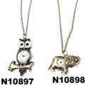 cute antique car elephant violin clock pendant metal necklace 2