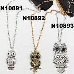 men antique owl pendant metal necklace wholesale