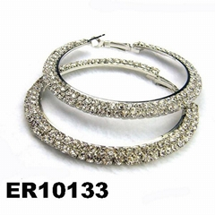 fashion women crystal stone hoop earrings wholesale