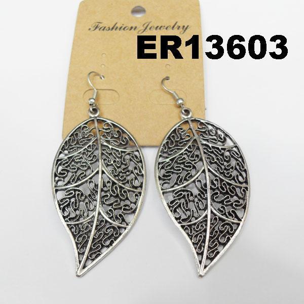 women antique silver leaf design metal earrings wholesale 1
