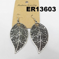 women antique silver leaf design metal earrings wholesale