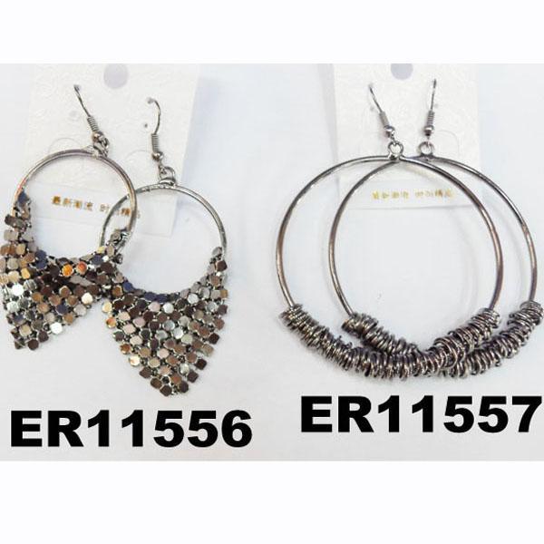 women antique silver leaf design metal earrings wholesale 2