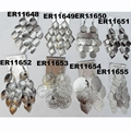 women antique silver leaf design metal earrings wholesale 3