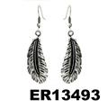 women antique silver leaf design metal earrings wholesale 4