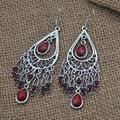 women crystal metal flower dangling chandelier earrings