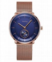New Design Fashion Japan Quartz Movt Custom Stainless Steel Mesh Bracelet Gold P