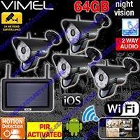 DYI Alarm Wireless Security Systems Cameras System 64GB IP Surveillance WIFI IR