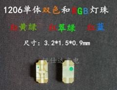 單體1206RGB七彩紅綠藍全彩LED發光二極管