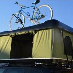 fiberglass shell car roof tent with rack