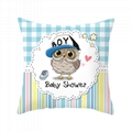 Lovely Cushion Cover Polyester Cotton Cartoon Owl Printed Pillow Cover