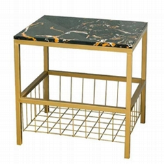 high quality Deluxe Marble Top End Side Table with Metal Storage Basket