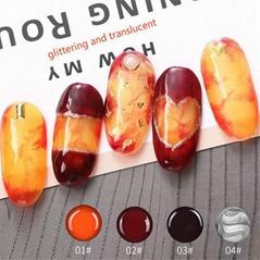 Glass Amber Nail Gel Polish Soak Off UV Painting Gel Gradual Changing Nail Art
