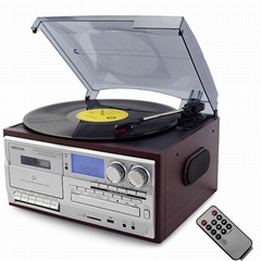 2019 hot sale all in one vinyl record gramophone USB SD Cassette play& recording