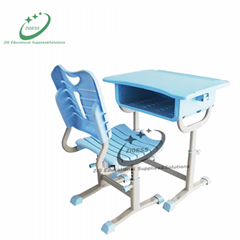 bright color student desk and chair plastic school furniture for classroom