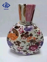 New design glass perfume bottle with decals