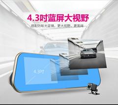行车记录仪后视镜前后双录WIFI功能GPS夜视仪