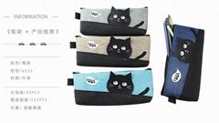 黑貓系列多層小學生筆袋大容量帆布多功能男文具盒