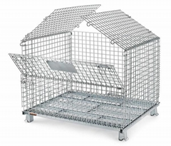 Foldable collapsible stackable wire mesh containers storage transportation cages