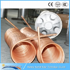 Copper coil pressurized solar water heater system