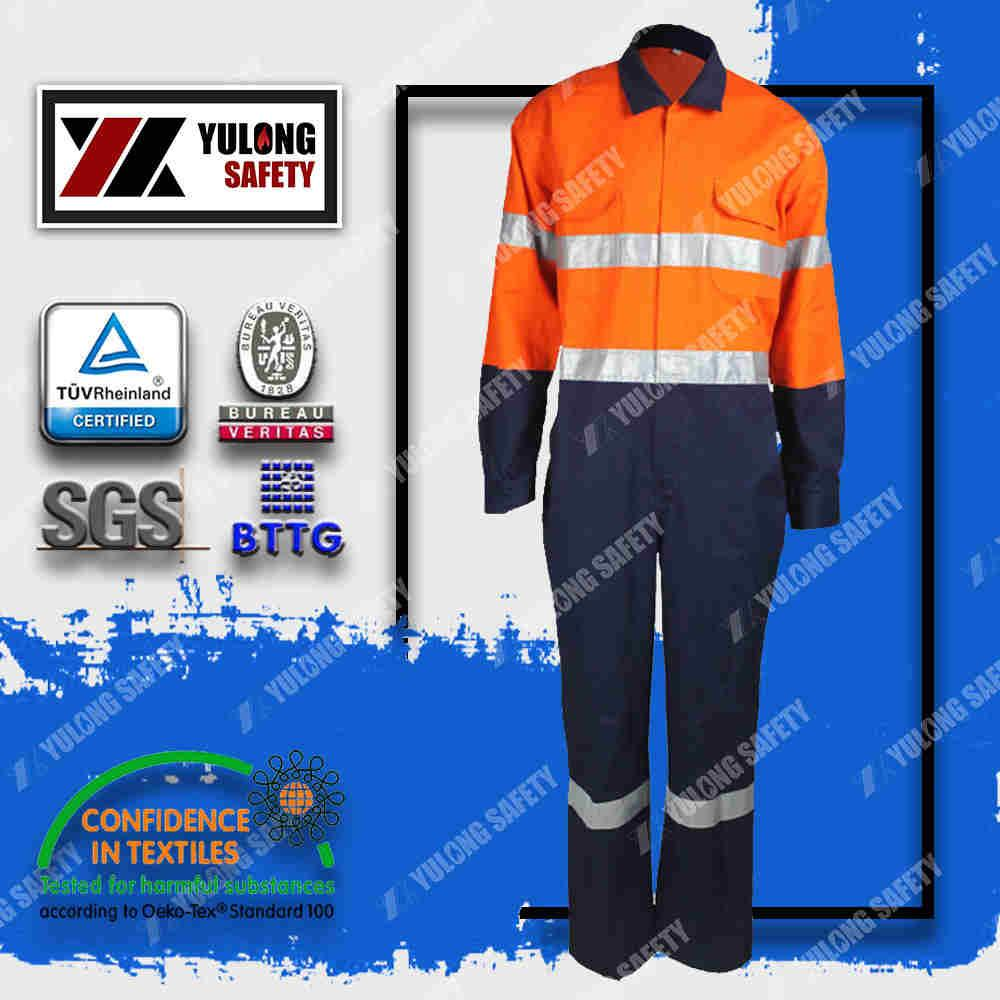 Wholesale cotton frc fluorescent workwear safety coverall 1