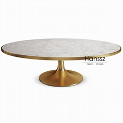 Round marble stone dining table with yellow metal frame