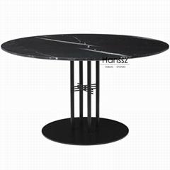 Black column metal holder black marble dining table top
