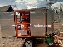 outdoor transformer oil purifier with trailer,movable dielectric oil dehydration