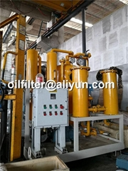 mobile lubricant oil filtration machine with removal of gas and water