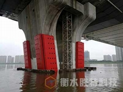 固定式鋼覆式橋墩防撞設施