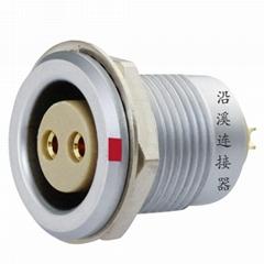 沿溪连接器2芯母插座推拉自锁金属航空件电子接插件