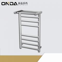 heataed towel rack with shelf
