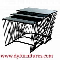 black tempered glass top and glass coffee table