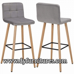 Bar Stools with Backrest Fabric Velvet Grey Barstool Wood