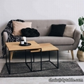 MODERN 2PIECE COFFEE TABLE SET MDF TOP WITH STEEL COFFEE TABLE