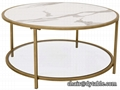 Chromed Gold Finish Metal Glass Round Coffee Table