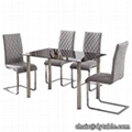 HIGH QUALITY BLACK TEMPERED GLASS DINING TABLE AND CHAIR CHROMED DINING SETS