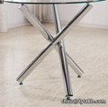 popular chromed leg Glass Dining Table and Faux Leather Chairs