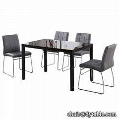 hot sale chromed glass dining room set glass dining sets