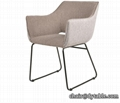 Home furniture Beauty modern metal dining chairs leather armchair
