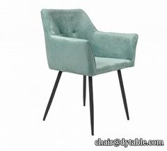 Hotel Green Velvet Upholstered Dining Chairs