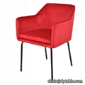 Kitchen furniture wholesale supplier Velvet fabric dining room chair armrest
