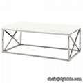 Coffee Table Glossy White With Chrome Metal